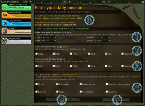 Daily missions filter preferences
