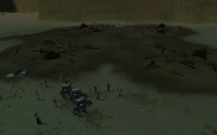 A yubomb is sent across the outpost to the next group of Fyros troops.