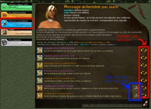 En rouge, des bouton à droite pour changer certaines missions, en bleu la localisation des mobs (missions de chasse)
