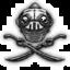 Deux épées croisées surplombées d'un casque Lor-Tashok en forme de crâne