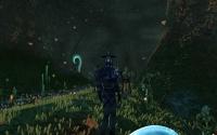 The Karavan researcher observes as homins stand guard.
